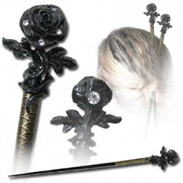 """Pic à cheveux Alchemy Gothic """"Rose of Passion"""" (à l'unité)"""