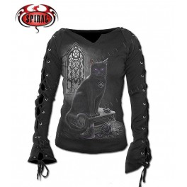 "T-shirt Femme Manches lacets ""Witch Cat"""