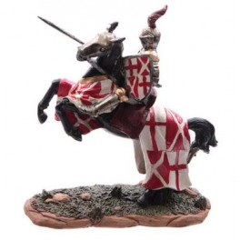 Chevalier des croisades sur cheval de guerre modèle A