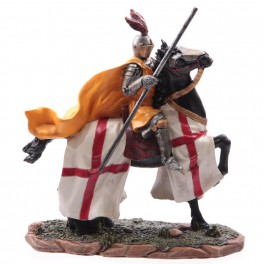 Chevalier des croisades sur cheval de guerre modèle C