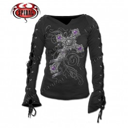 "T-shirt Femme Manches lacets ""True Love"""