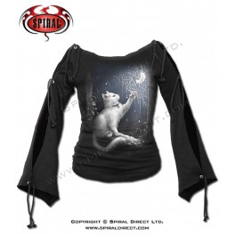 "T-shirt manches lacets Spiral Direct ""Snow kitten"""