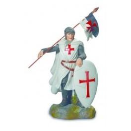Chevalier des templiers avec drapeau beaucent