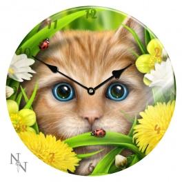 """Horloge vitré """"Summer cat"""" de Linda M. Jones"""