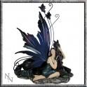 Fée bleue et sa licorne noire couchée
