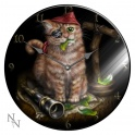 "Horloge vitré ""Pirate Kitten"" de Linda M. Jones"