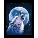 """Kit de tableau de strassage 3D """"Loup au clair de lune"""""""